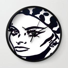 Sophia Loren Black & White Portrait Painting Movie Star  Wall Clock