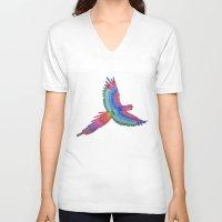 parrot V-neck T-shirts featuring Parrot by Luna Portnoi