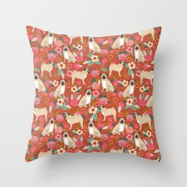 Pug dog breed floral must have cute pugs pure breed pet gifts Throw Pillow