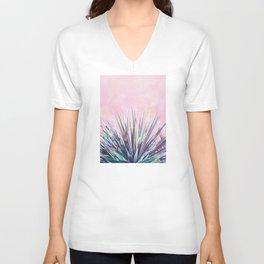 Vintage Yucca Palm - Pink Unisex V-Neck