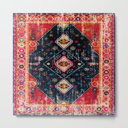 Heritage Oriental Berber Traditional Moroccan Style Blue & Red Design Metal Print