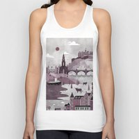 travel poster Tank Tops featuring Edinburgh Travel Poster Illustration by ClaireIllustrations