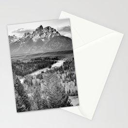 Grand Teton Black & White Wyoming National Park Mountain Landscape Stationery Cards