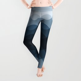 Mid Tone Ocean Blue Overlapping Wavy Line Pattern Pairs To 2020 Color of the Year Chinese Porcelain Leggings