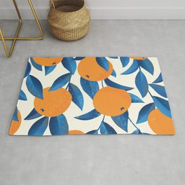 Vintage oranges on the branches with blue leaves hand drawn illustration pattern Rug