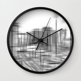 pencil drawing buildings in the city in black and white Wall Clock