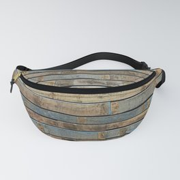 distressed wood wall - Blue and brown planks Fanny Pack
