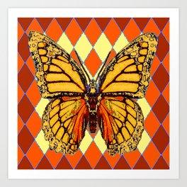 MONARCHS BUTTERFLY  &  ORANGE-BROWN HARLEQUIN PATTERN Art Print