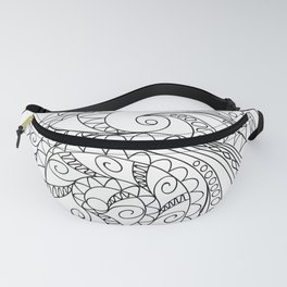 abstract zen tangled pattern swirl Fanny Pack