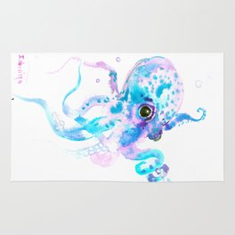 Turquoise Violet Octopus Rug