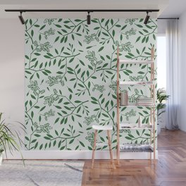 Abstract forest green ivory foliage leaf pattern Wall Mural