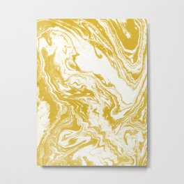 Suminagashi 4 gold and white marble spilled ink ocean swirl watercolor painting Metal Print