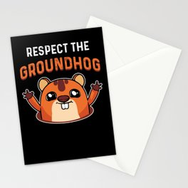 Respect The Groundhog Shadow Animal Woodchuck USA Stationery Cards