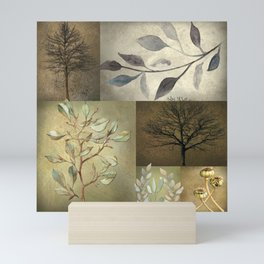 Earth Tone Botanical Color Blocks Mini Art Print
