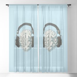 Mind Music Connection /3D render of human brain wearing headphones Sheer Curtain