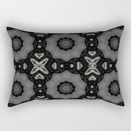 Glossy Black/Silver Gray Circular Repeat Pattern  Rectangular Pillow