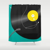 record Shower Curtains featuring Record Player by Jenn Shaw