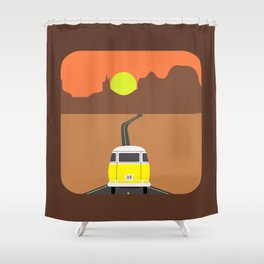 On the road (Yellow van) Shower Curtain
