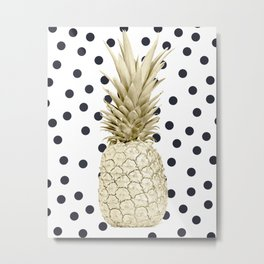 Gold Pineapple on Black and White Polka Dots Metal Print
