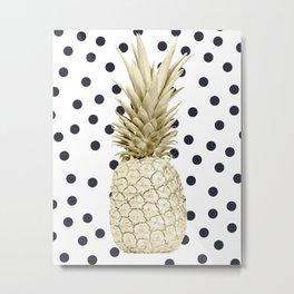 Gold Pineapple on Black and White Polka Dots Metal Print