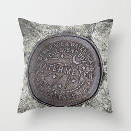 New Orleans Watermeter in Color Throw Pillow