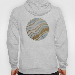 gold, blue, white waves Hoody