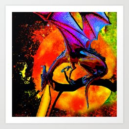 DRAGON FIRE HARVEST MOON DREAM Art Print