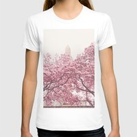 central park T-shirts featuring Central Park - Cherry Blossoms by Vivienne Gucwa