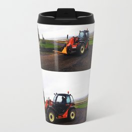 Tractor in Front of the Old Farmhouse at Hofsstaðir in Northern Iceland Travel Mug
