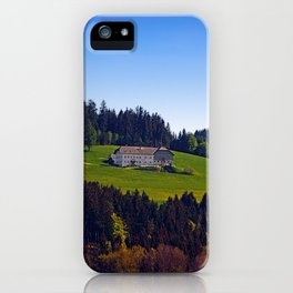A farm, blue sky and some panorama | landscape photography iPhone Case