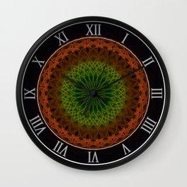 Mandala in green and red tones Wall Clock