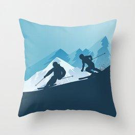 Let's Ski • Winter Sport • Christmas Special Throw Pillow