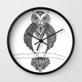 Intricate night owl doodle Wall Clock