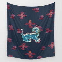 Foo beasties on navy Wall Tapestry