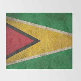 Old and Worn Distressed Vintage Flag of Guyana Throw Blanket