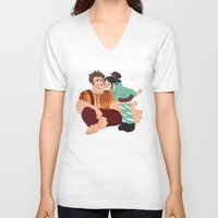 wreck it ralph V-neck T-shirts featuring Ralph & Vanellope by Violet's Corner