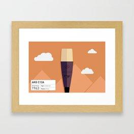 AKG c12a Microphone Illustration Print Framed Art Print