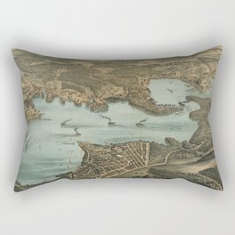 Vintage Pictorial Map of Lake Chautauqua NY (1885) Rectangular Pillow