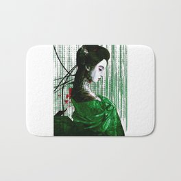 Cyberpunk Geisha Cyborg Matrix Binary Code  Bath Mat