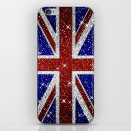 Glitters Shiny Sparkle Union Jack Flag iPhone Skin