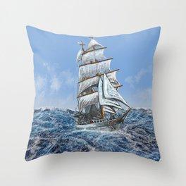 sealing boat Throw Pillow