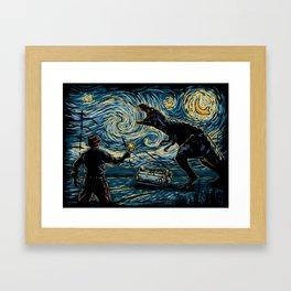 Jurassic Night Framed Art Print