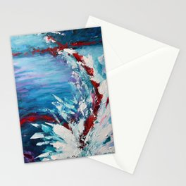 Emergence, abstract artwork, blue and white Stationery Cards