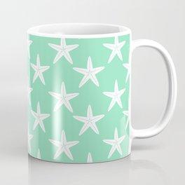 Starfishes (White & Mint Pattern) Coffee Mug