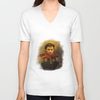 replaceface V-neck T-shirts featuring Hugh Jackman - replaceface by replaceface