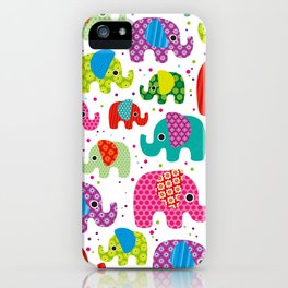 Colorful india elephant kids illustration pattern iPhone Case