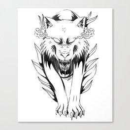 Wolf In Fog - Wolf Canvas Print