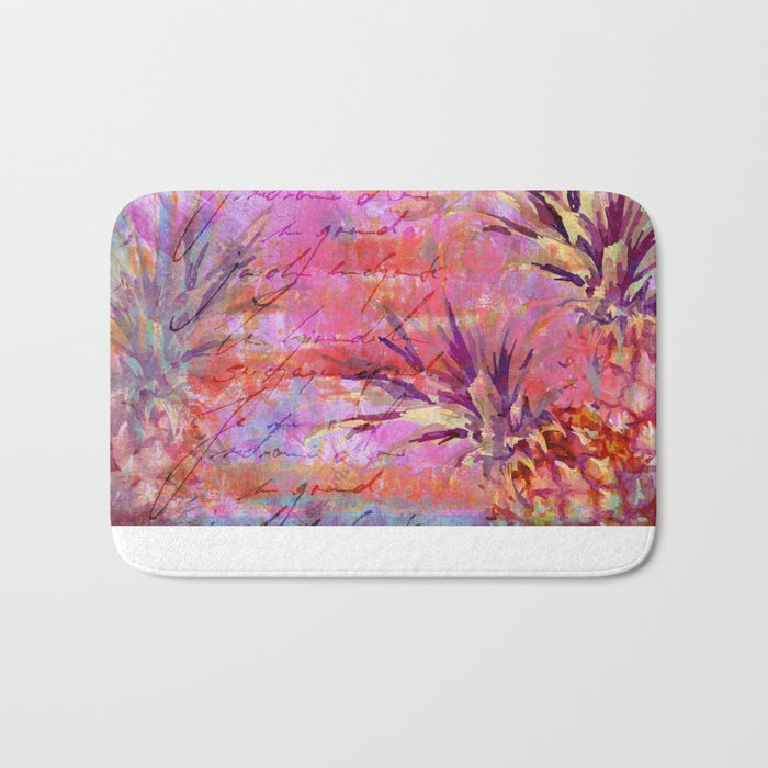 Pineappel tropical fruit colorful illustration Bath Mat