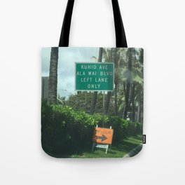 Urban signs in Hawaii Tote Bag