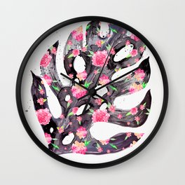 Tropical Leaf - Philodendron Black Pink Wall Clock